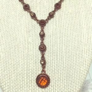 Copper necklace 1928 with embedded crystals